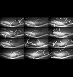 set of neon cloud computing backgrounds vector image vector image