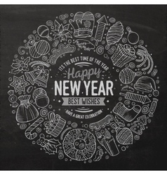Set of new year cartoon doodle objects round frame vector
