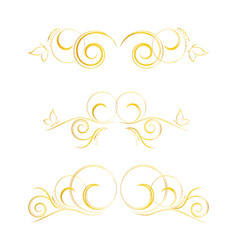set of page decoration golden elements vector image