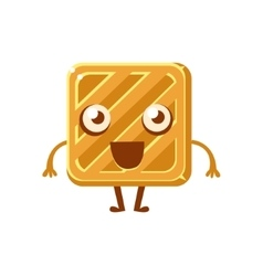 Square simple butter biscuit sweet dessert pastry vector