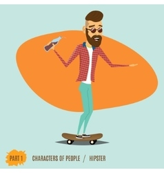 The male hipster rides on a skateboard vector image