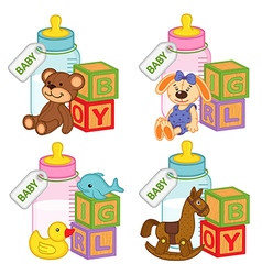 Toys and accessories for baby girls and boys vector