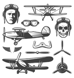 Vintage aircraft elements set vector