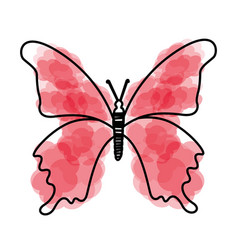 Watercolor pink butterfly cartoon vector
