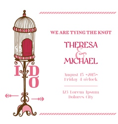 Wedding Vintage Invitation Card - Bird Cage Theme vector image