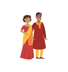 Couple in indian national clothes vector