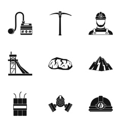 Coal mining icons set simple style vector