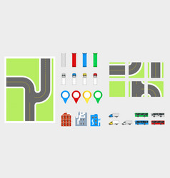 Cityscape design elements with road transport vector