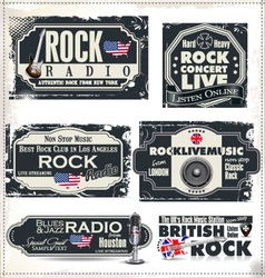 Rock music banner set vector