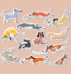 Hand drawn doodle cute dogs stickers set with vector