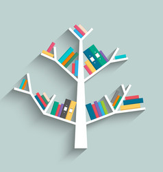 Bookshelf in form of tree with colorful books vector