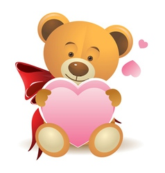 Teddy bear with pink heart vector