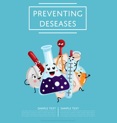 Preventing diseases poster with medical characters vector