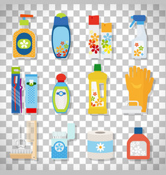 Hygiene flat icons on transparent background vector
