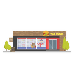 Facade of fast food store resataurant template vector