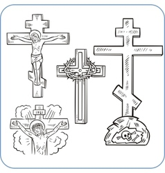 Cross and crucifix - vector