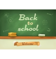 Chalkboard with sign back to school vector image