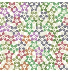 Pattern of flowers on a checkered paper vector