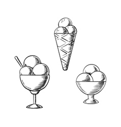 Ice cream waffle cone and sundae desserts vector