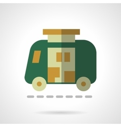 Green camper flat color design icon vector image