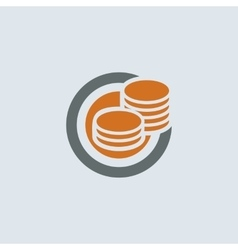 Gray-orange coins round icon vector