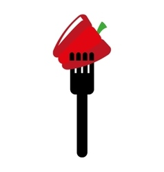 Fork with pepper isolated icon design vector