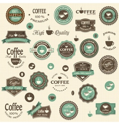 Collection of coffee labels and elements vector
