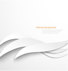 Abstract white waves background with drop shadow vector image vector image