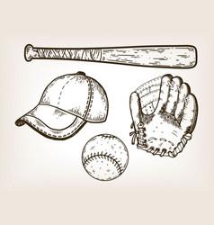 baseball equipment engraving vector image vector image