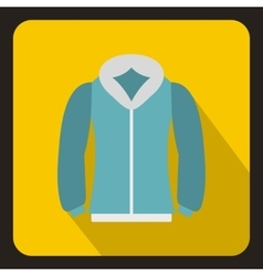Blue mens winter jacket icon flat style vector image vector image