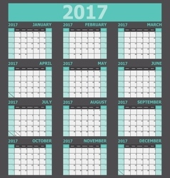Calendar 2017 week starts on sunday green tone vector