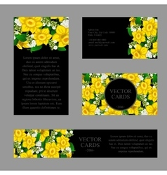 Cards with the texture of yellow daffodils vector