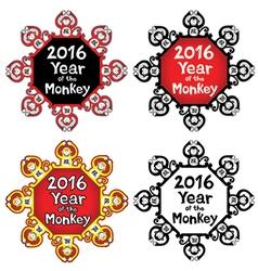 Chinese horoscope frame design monkey vector image