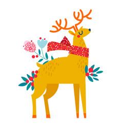 christmas reindeer in flowers vector image