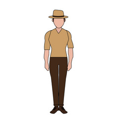 color image silhouette full body faceless explorer vector image vector image