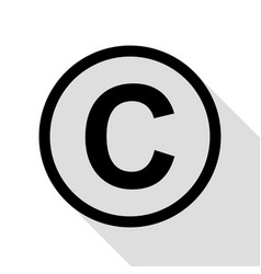 Copyright sign black icon with flat vector