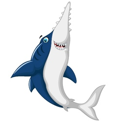 Cute shark saws cartoon jumping vector