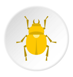 Gold scarab beetle icon circle vector