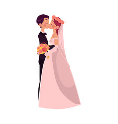 Groom and bride kiss each other isolated vector