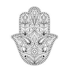 Hand drawn hamsa symbol hand of fatima ethnic vector
