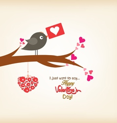 Happy valentines day greeting card with bird vector