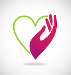 Heart hand care beauty logo vector