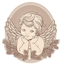 little angel with wings a candle vector image