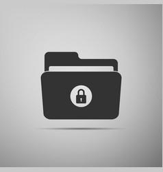 locked folder icon isolated on grey background vector image vector image