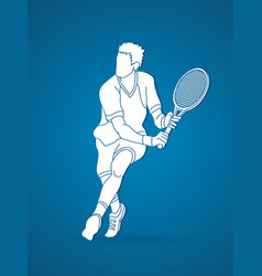 Man tennis player running sport man action vector