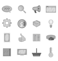 Marketing icons set monochrome style vector