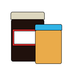 Pair of blank label jars icon image vector