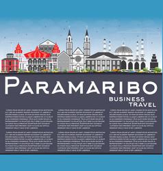 Paramaribo skyline with gray buildings blue sky vector