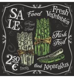 Ripe asparagus logo design template fresh vector