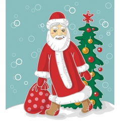 Santa Claus carries bag vector image vector image